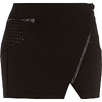 Black scuba biker mini skirt