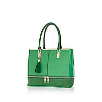 Green contrast zip base tote bag
