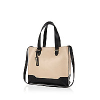 Beige leather small tote bag