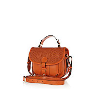 Orange leather snake satchel