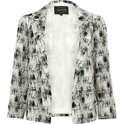 Black and white scratch print blazer