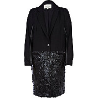 Black high shine two-tone coat