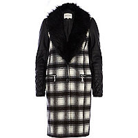 Black checked biker sleeve 2 in 1 coat
