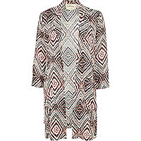 Beige tribal print duster coat