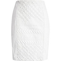 White embossed leather skirt
