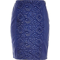 Blue floral embossed leather pencil skirt