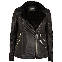 Black leather faux fur lined biker jacket