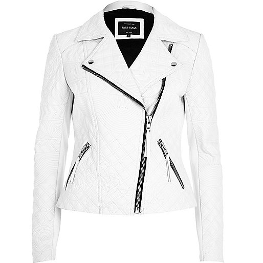 White embossed leather jacket