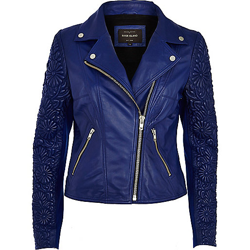 Blue floral embossed sleeve leather jacket