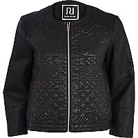 Black embossed leather-look jacket