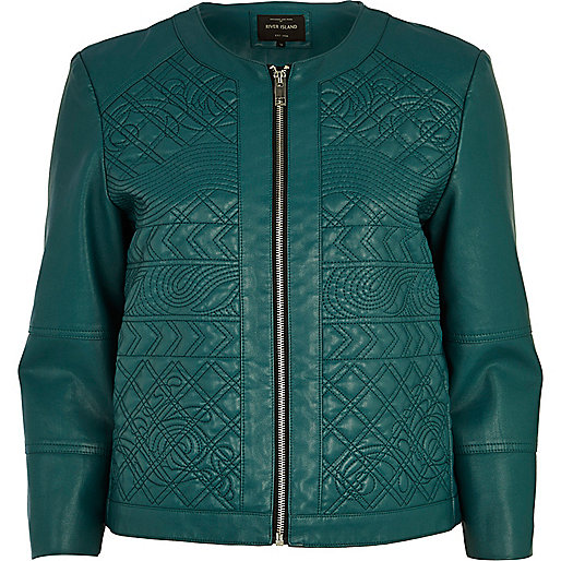 Green embossed leather-look jacket