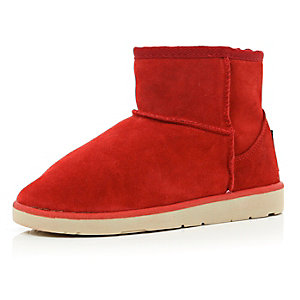 Bright red faux fur lined boots