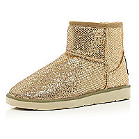 Gold metallic faux fur lined boots