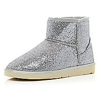 Silver metallic faux fur lined boots
