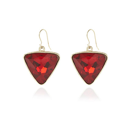 Red gem stone triangle drop earrings