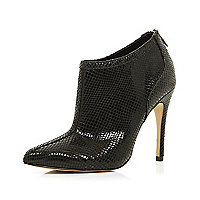 Black snake pointed shoe boots