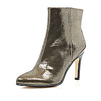 Gold metallic mid heel ankle boots