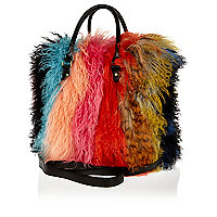 Multicoloured Mongolian fur tote bag