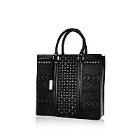Black leather quilted contrast panel tote bag