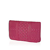 Pink quilted leather studded clutch bag