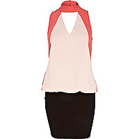 Coral colour block 2 in 1 high neck dress