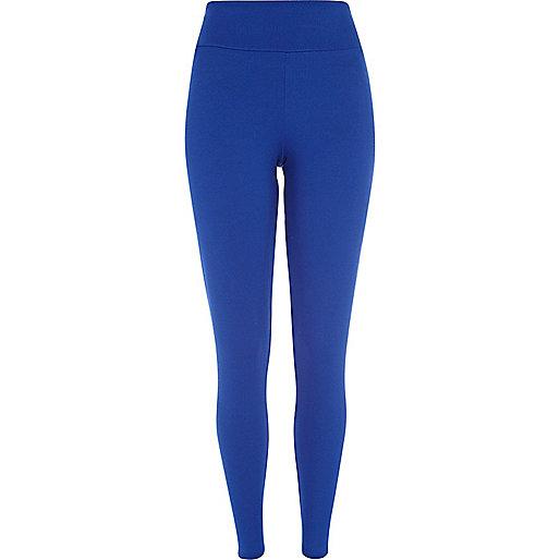 Bright blue textured high waisted leggings