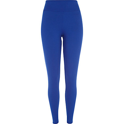 Bright blue textured high waisted leggings