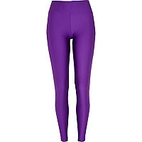 Purple matte disco leggings