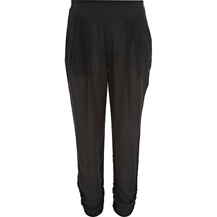 Black crop harem trousers