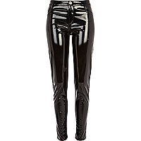Black high shine skinny trousers