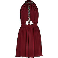 Dark red embellished turtle neck dress