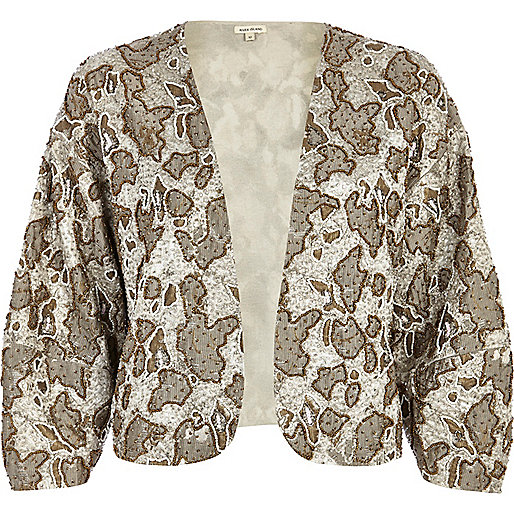 Gold embellished jacquard cropped jacket