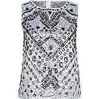 Silver embellished tank top
