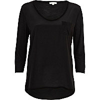 Black woven front low scoop t-shirt