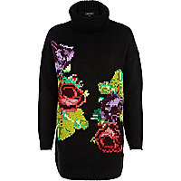 Black floral tapestry roll neck jumper
