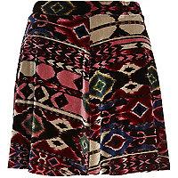 Purple aztec print velvet skater skirt