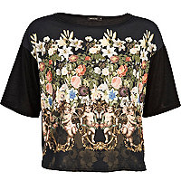 Black floral angel print cropped boxy t-shirt