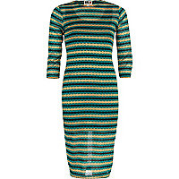 Green Chelsea Girl sheer stripe midi dress