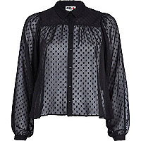 Black Chelsea Girl polka dot blouse
