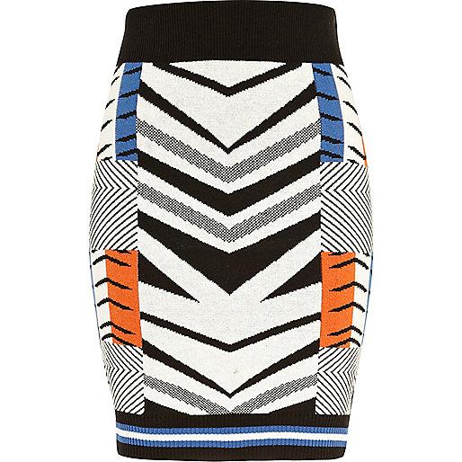Cream geometric knitted tube skirt