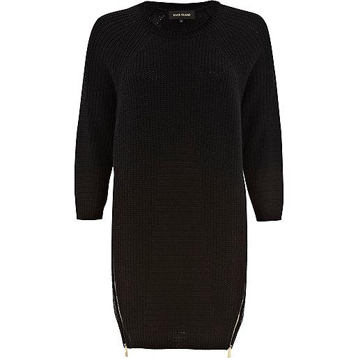 Black geometric pattern jumper dress