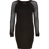 Black mesh sleeve bodycon dress