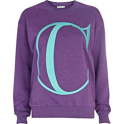 Purple C embroidered sweatshirt