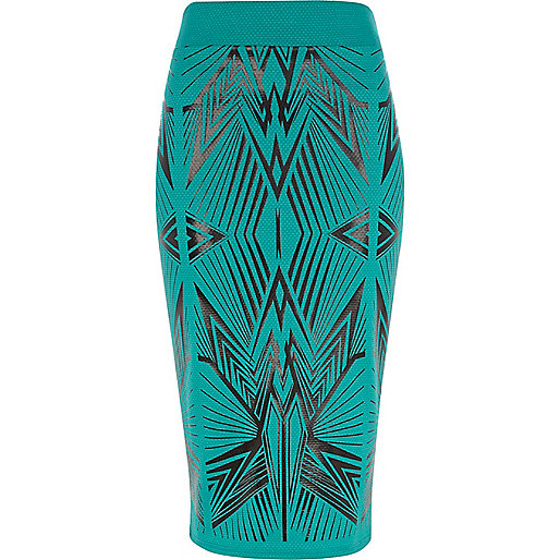 Green wet look graphic print pencil skirt