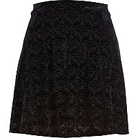 Black paisley devore skater skirt