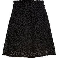 Black animal print devore skater skirt