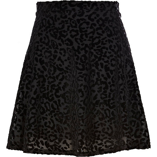 Black animal print devore skater skirt