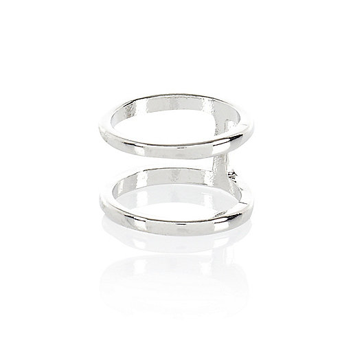Silver tone double finger top midi ring