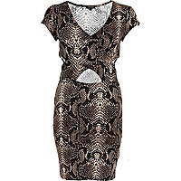 Beige snake print cut out bodycon dress