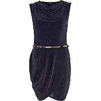 Navy lurex cowl neck belted dress